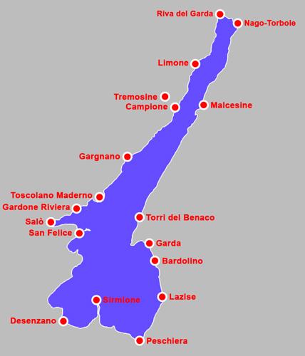 Lago Di Garda Cartina Geografica.I Paesi Del Lago Di Garda Info E Storia Sulle Localita Del Lago